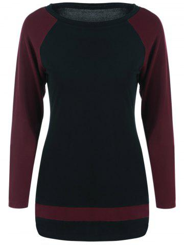 Fashion Raglan Sleeve T-Shirt RED/BLACK L