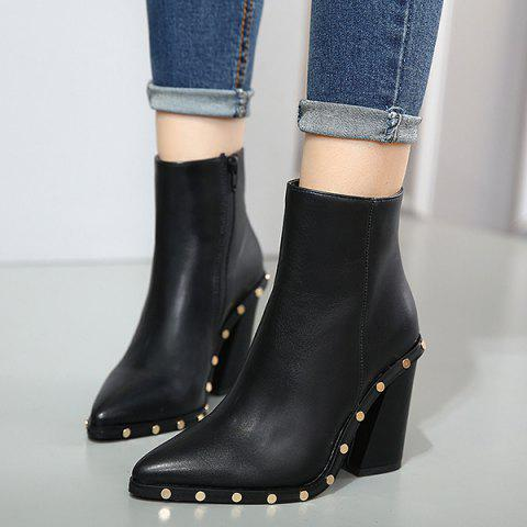 Fashion Chunky Heel Pointed Toe Rivet Ankle Boots - 38 BLACK Mobile