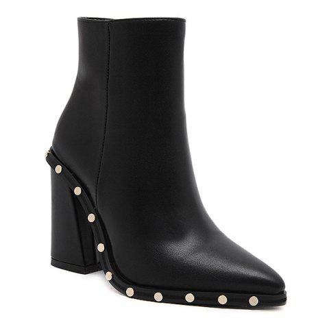 Hot Chunky Heel Pointed Toe Rivet Ankle Boots