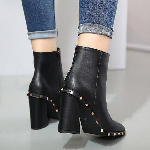 Latest Chunky Heel Pointed Toe Rivet Ankle Boots - 38 BLACK Mobile