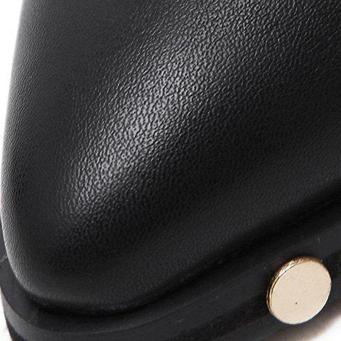 Fancy Chunky Heel Pointed Toe Rivet Ankle Boots - 38 BLACK Mobile
