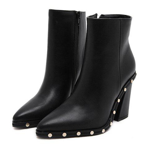 Affordable Chunky Heel Pointed Toe Rivet Ankle Boots - 38 BLACK Mobile