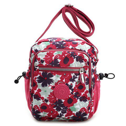 Trendy Colour Spliced Floral Print Zipper Crossbody Bag