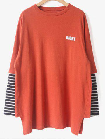 Discount Stripes Spliced Right T-Shirt