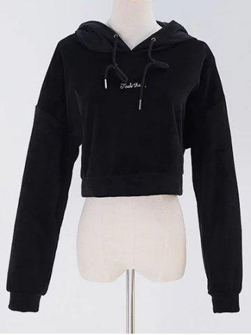 Chic Velvet Graphic Embroidered Cropped Hoodie