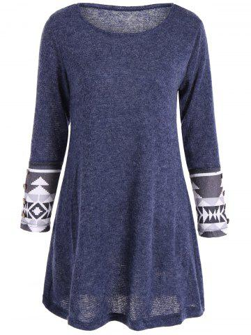 Outfit Casual Geometric Pattern Long Sleeve Dress BLUE M