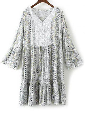 Trendy V Neck Flare Sleeve Ruffles Printed Dress