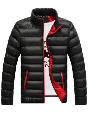 Best Stand Collar Contrast Zipper Quilted Jacket