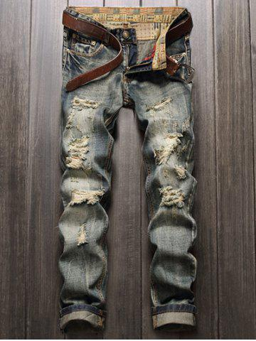 Unique Frayed Zipper Fly Straight Leg Distressed Jeans