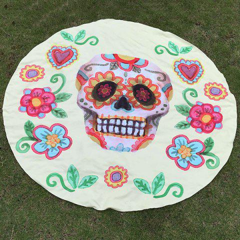 Fancy Festival Halloween Flower and Skull Print Polyster Round Beach Throw LIGHT YELLOW ONE SIZE