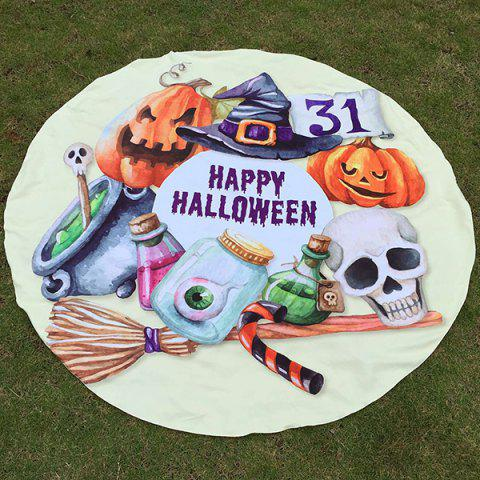 Discount Festival Happy Halloween Element Print Polyster Round Beach Throw