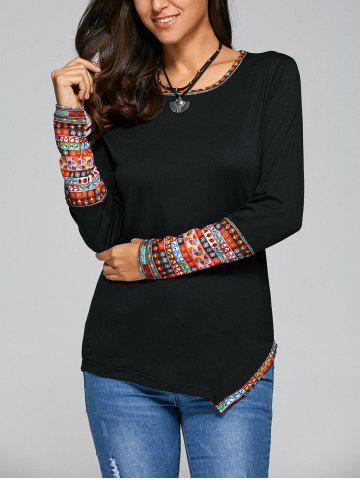New Casual Tribal Print Asymmetric Tee BLACK XL