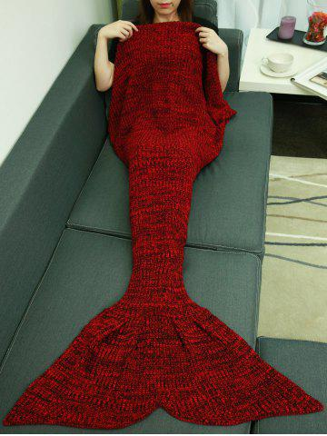 Fashion Christmas Knitting Sleeping Bag Fish Tail Design Blanket DEEP RED