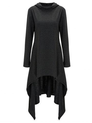 Affordable High Low Hooded Dress with Long Sleeves BLACK GREY XL