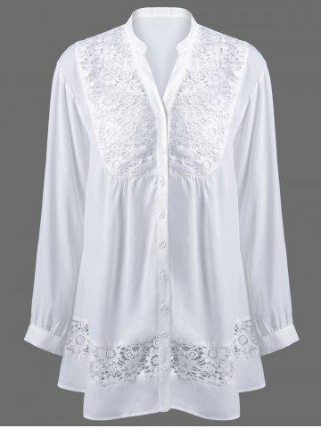 Latest Plus Size Lace Trim Button Down Blouse