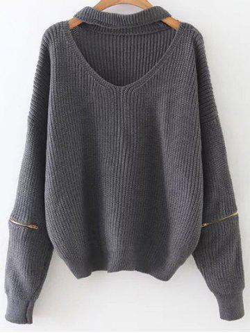 Store Cut Out Zipper Sleeve Choker Sweater GRAY ONE SIZE