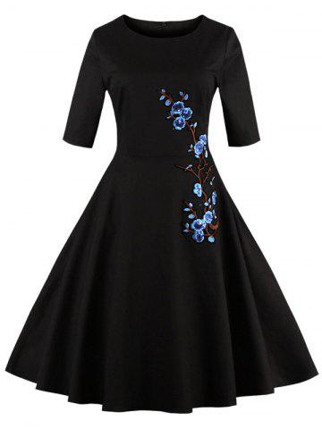 Unique Floral Embroidered Semi Formal Skater Dress BLACK 4XL