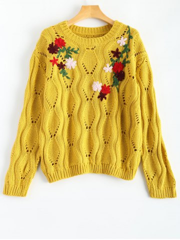 Online Cut Out Floral Embroidered Sweater