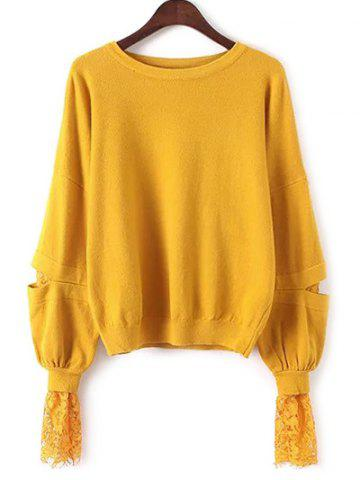 Sale Lantern Sleeve Lace Spliced Loose Sweater YELLOW ONE SIZE