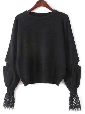 Lantern Sleeve Lace Spliced Loose Sweater - Black - One Size