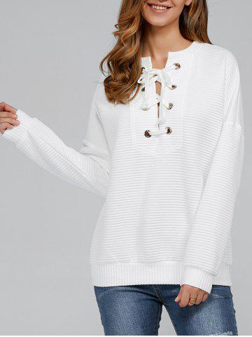 Latest Lace-Up Ribbed Sweatshirt WHITE M
