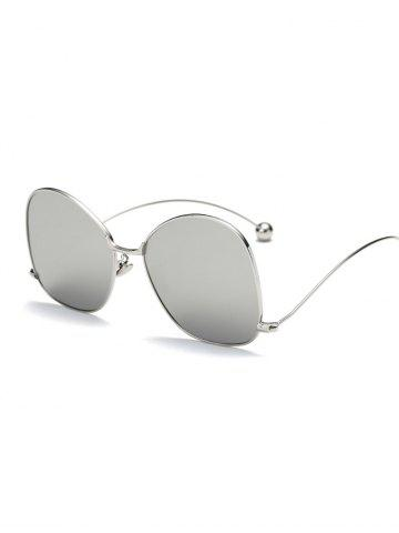 Chic Cool Small Ball Wave Leg Irregular Mirrored Sunglasses SILVER