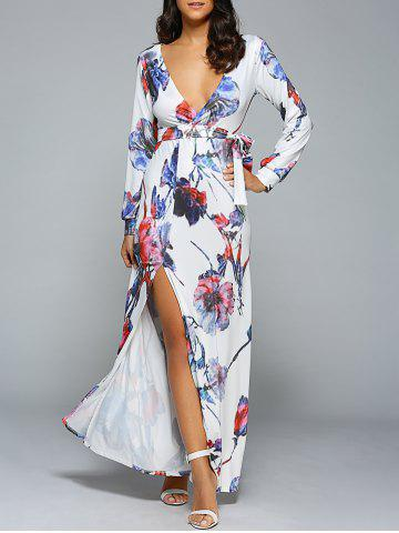 Unique Belted Full Sleeve Floral High Slit Plunging Neck Dress WHITE M