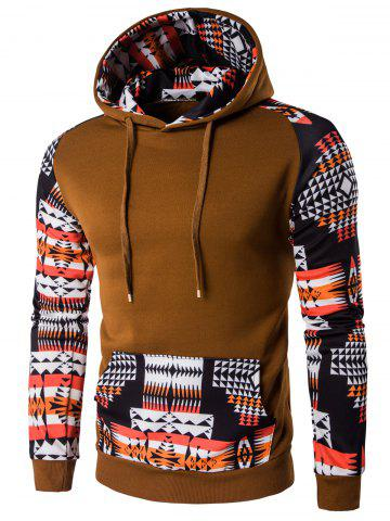 Outfits Patchwork Design Geometric Print Brown Hoodie COFFEE M