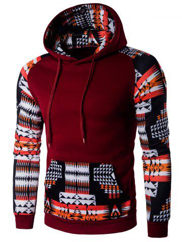 Buy Patchwork Design Geometric Print Hoodie - WINE RED M Mobile