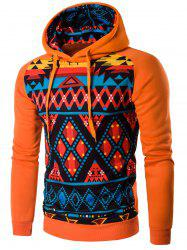 Cartoon Geometric Printed Orange Hoodie - SWEET ORANGE
