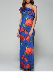 Flounce Floral Wedding Guest One Shoulder Maxi Dress