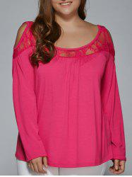 Long Sleeve Lace Patchwork Cold Shoulder T-Shirt - ROSE RED