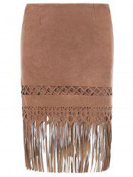 Suede High Waist Openwork Fringed Skirt