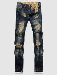 Pocket Zipper Fly Ripped Jeans -