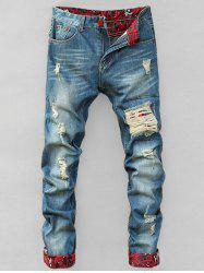 Zipper Fly Holes Cat's Whisker Design Crimping Straight Leg Jeans