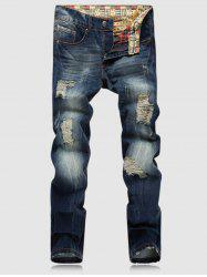Bleach Wash Zipper Fly Ripped Denim Pants -