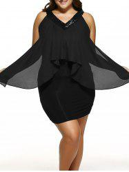 Plus Size Sequined Neck Overlay Dress -