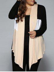 Plus Size Open Front Asymmetrical Cardigan - WHITE + BLACK + YELLOW