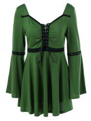 Lace-Up Flare Sleeve Peplum Blouse - HUNTER GREEN M