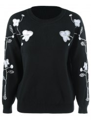 Floral Embroidered Sequined Sweater -
