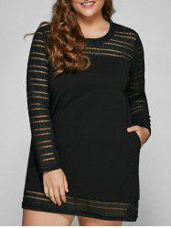 Hollow Out Spliced Plus Size Mini Dress