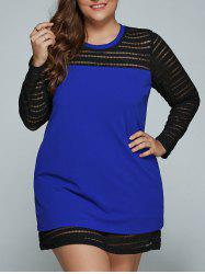 Hollow Out Spliced Plus Size Mini Dress - BLUE 4XL