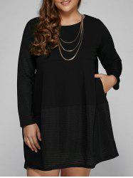 Casual Long Sleeve Plus Size Mini Dress -