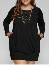 Plus Size Casual Long Sleeve Shift Dress