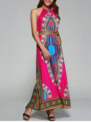 Tied Belt African Style Tribal Maxi Dress