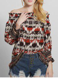 Off The Shoulder Vintage Printed Blouse - RED 2XL