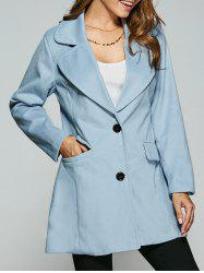 Wool Buttoned Pea Coat - LIGHT BLUE 2XL