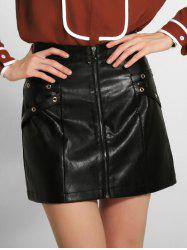 Zippered PU Leather A-Line Skirt