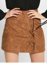Lace-Up Faux Suede A-Line Skirt - KHAKI