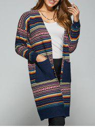 Pockets Ethnic Style Printed Cardigan -